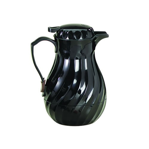 Black Plastic Swirl 64 Oz. Coffee Decanter With Triple Wall Insulation