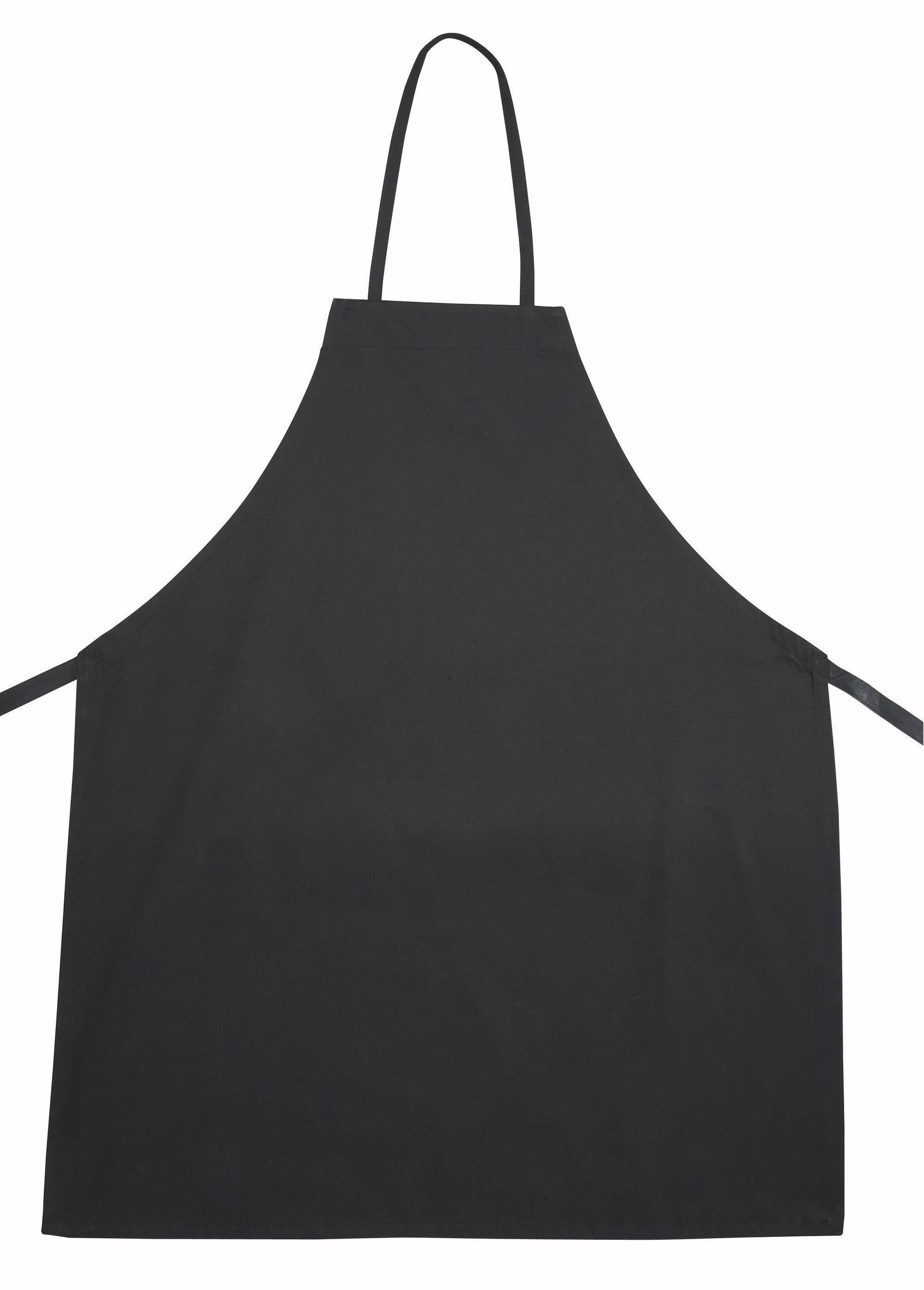 Winco BA-3226BK Full Length Black Poly/Cotton Bib Apron