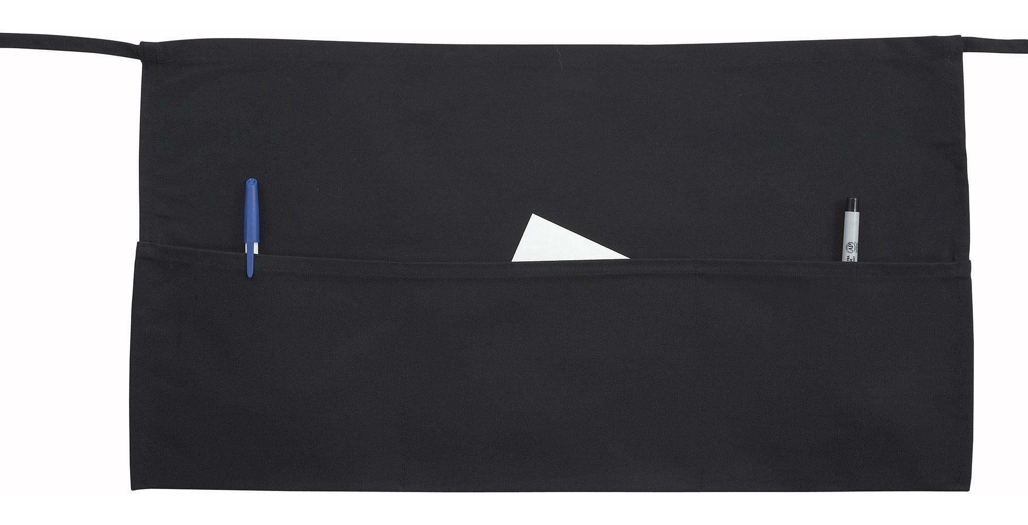 """Winco WA-1221 3-Pocket Black Poly/Cotton Waist Apron 22"""" x 12"""""""