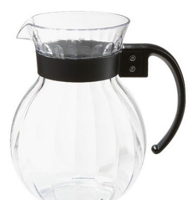 G.E.T. Enterprises P-4091-PC-BK Polycarbonate 90 oz. Clear Tahiti Pitcher with Black Handle
