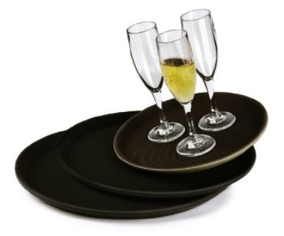 "G.E.T. Enterprises NS-1600-BK Black Non-Skid 16"" Round Tray"
