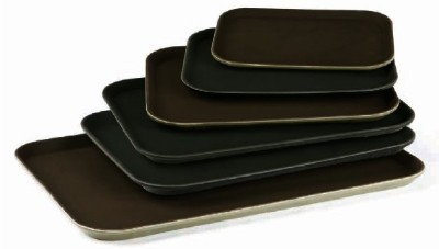 "G.E.T. Enterprises NS-1622-BK Black Non-Skid 16"" x 22"" Rectangular Tray"