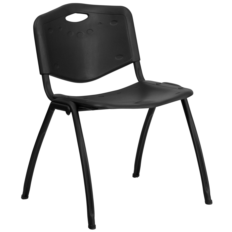 Flash Furniture rut-d01-BK-gg HERCULES Series 880 Lb. Capacity Black Plastic Stack Chair