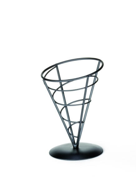 Black Powder Coated Appetizer Cone Basket - 5