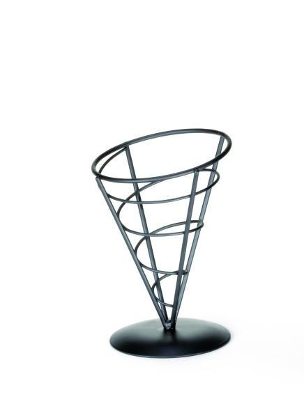 "TableCraft AC57 Black Powder Coated Appetizer Cone Basket 5"" x 7"""