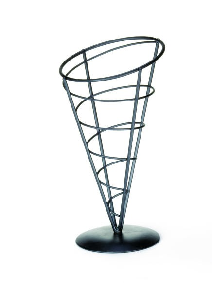 "TableCraft AC59 Black Powder Coated Appetizer Cone Basket 5"" x 9"""