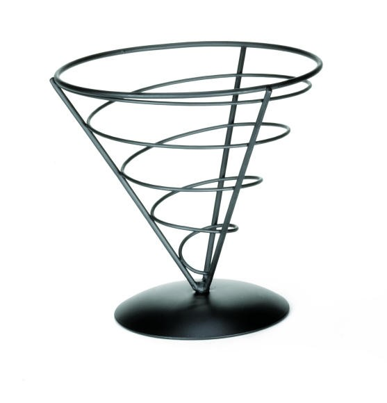 Black Powder Coated Appetizer Cone Basket - 7