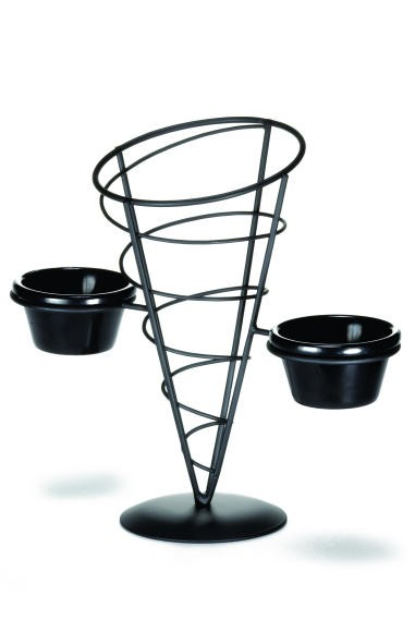 "TableCraft ACR259 Black Powder Coated Appetizer Cone Basket with 2 Ramekins 5"" x 9"""