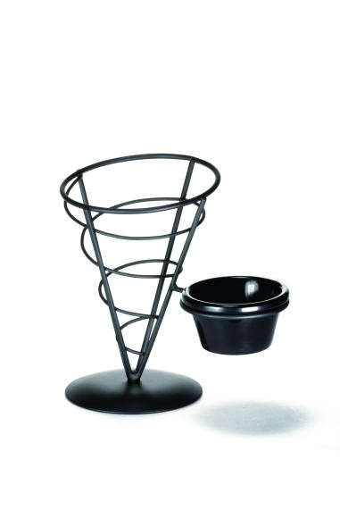 "TableCraft ACR57 Black Powder Coated Appetizer Cone Basket with Ramekin 5"" x 7"""