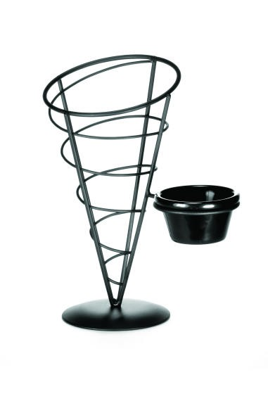 Black Powder Coated Appetizer Cone Basket With Ramekin - 5