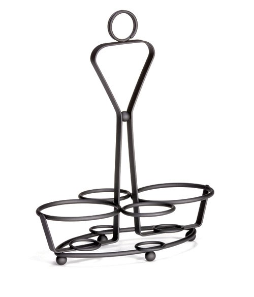 TableCraft 260RBK 4-Ring Black Powder Coated Condiment Combo Rack