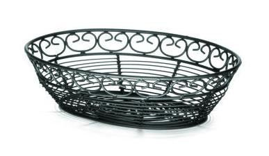 "TableCraft BK27409 Mediterranean Black Metal Oval Basket 9"" x 6"" x 2-1/2"""