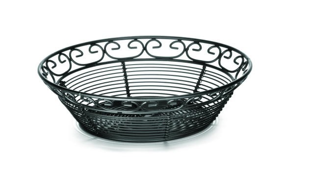 "TableCraft BK27508 Mediterranean Black Metal Round Basket 8"" x 2-1/2"""