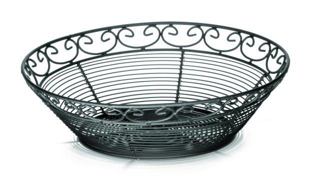 "TableCraft BK27510 Mediterranean Black Metal Round Basket 10"" x 3"""