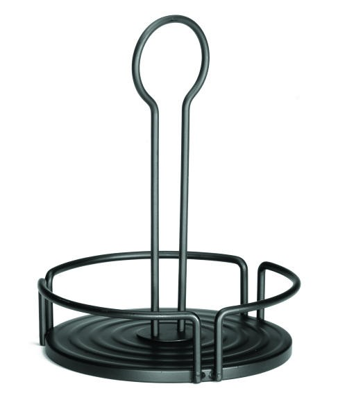 Black Powder-Coated Round Condiment Versa Rack - 7.28