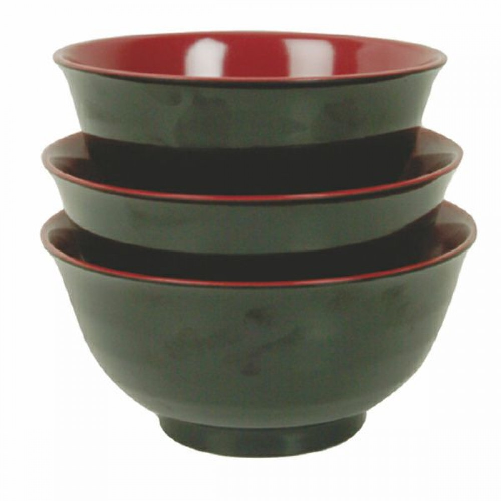 Black/Red Melamine 28 Oz. Asian Noodle Bowl - 6-1/2