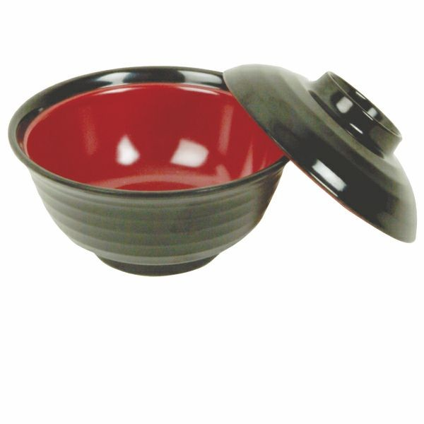 Black/Red Melamine 8 Oz. Soup/Rice Bowl With Lid - 4
