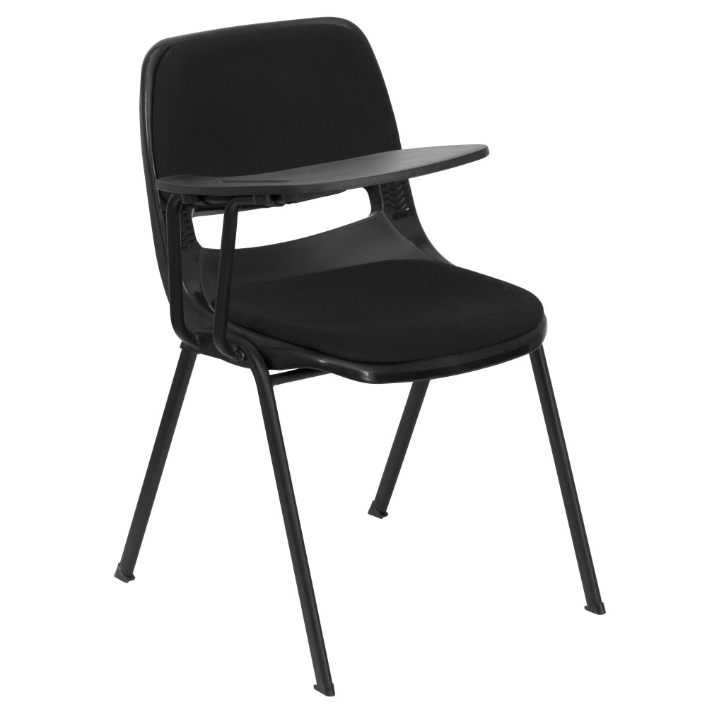 Flash Furniture RUT-EO1-01-PAD-RTAB-GG Black Padded Ergonomic Shell Chair with Right Handed Flip-Up Tablet Arm