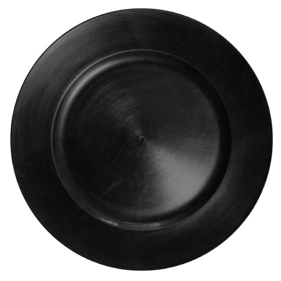 """Jay Import 1270028 Black Round Melamine 13"""" Charger Plate"""