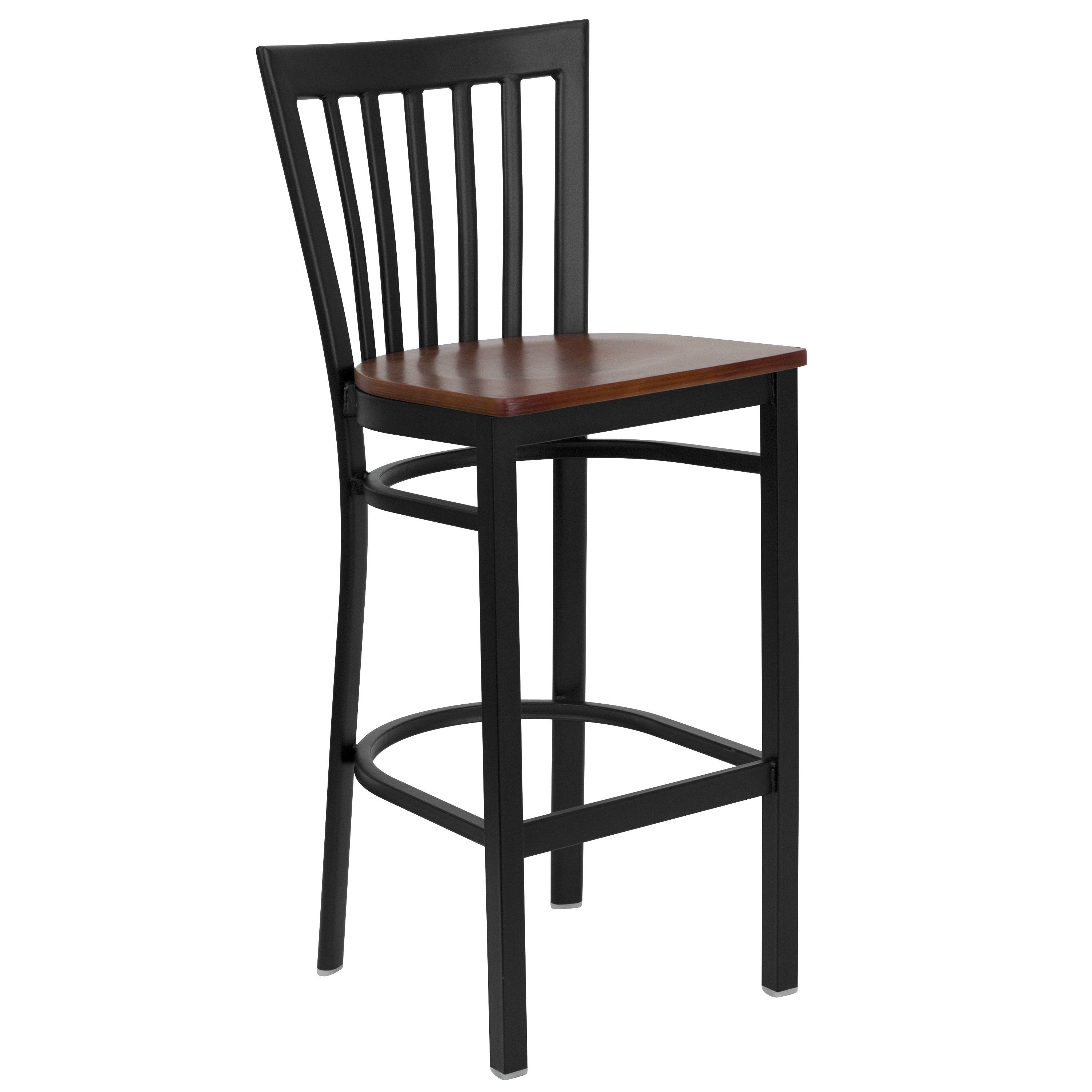 Black School House Back Metal Bar Stool with Cherry Wood Seat