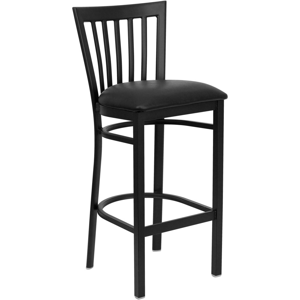 Black School House Back Metal Bar Stool with Black Vinyl Seat