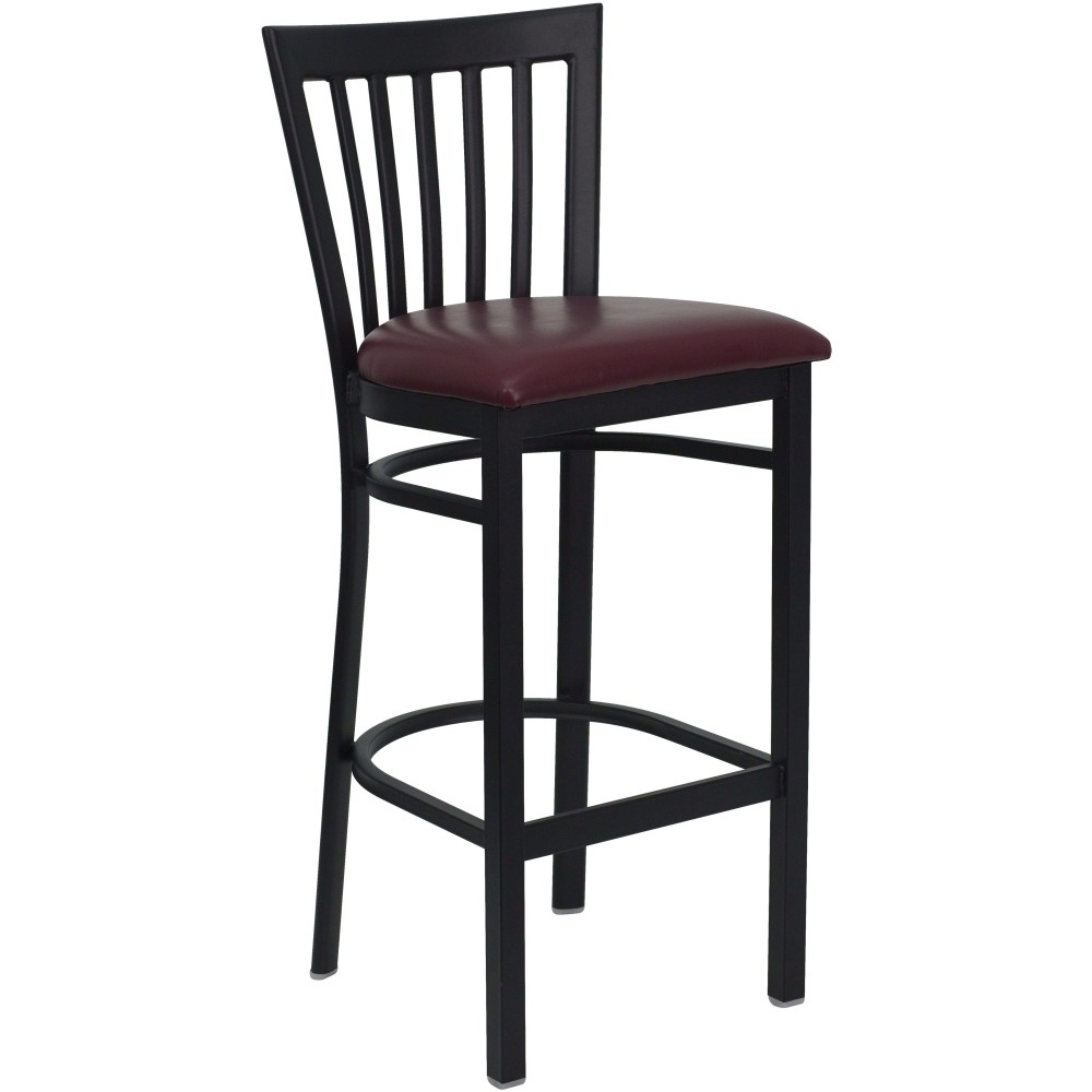 Black School House Back Metal Bar Stool with Burgundy Vinyl Seat