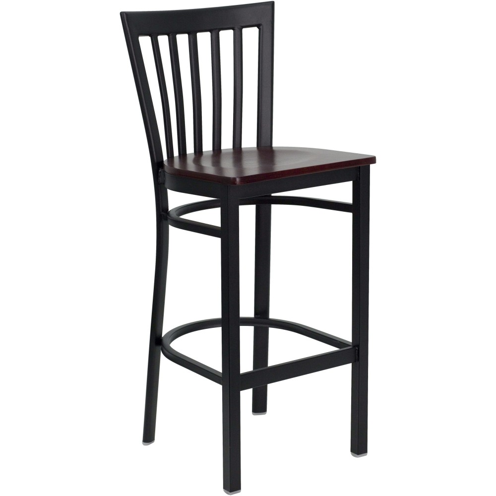 Black School House Back Metal Bar Stool with Mahogany Wood Seat