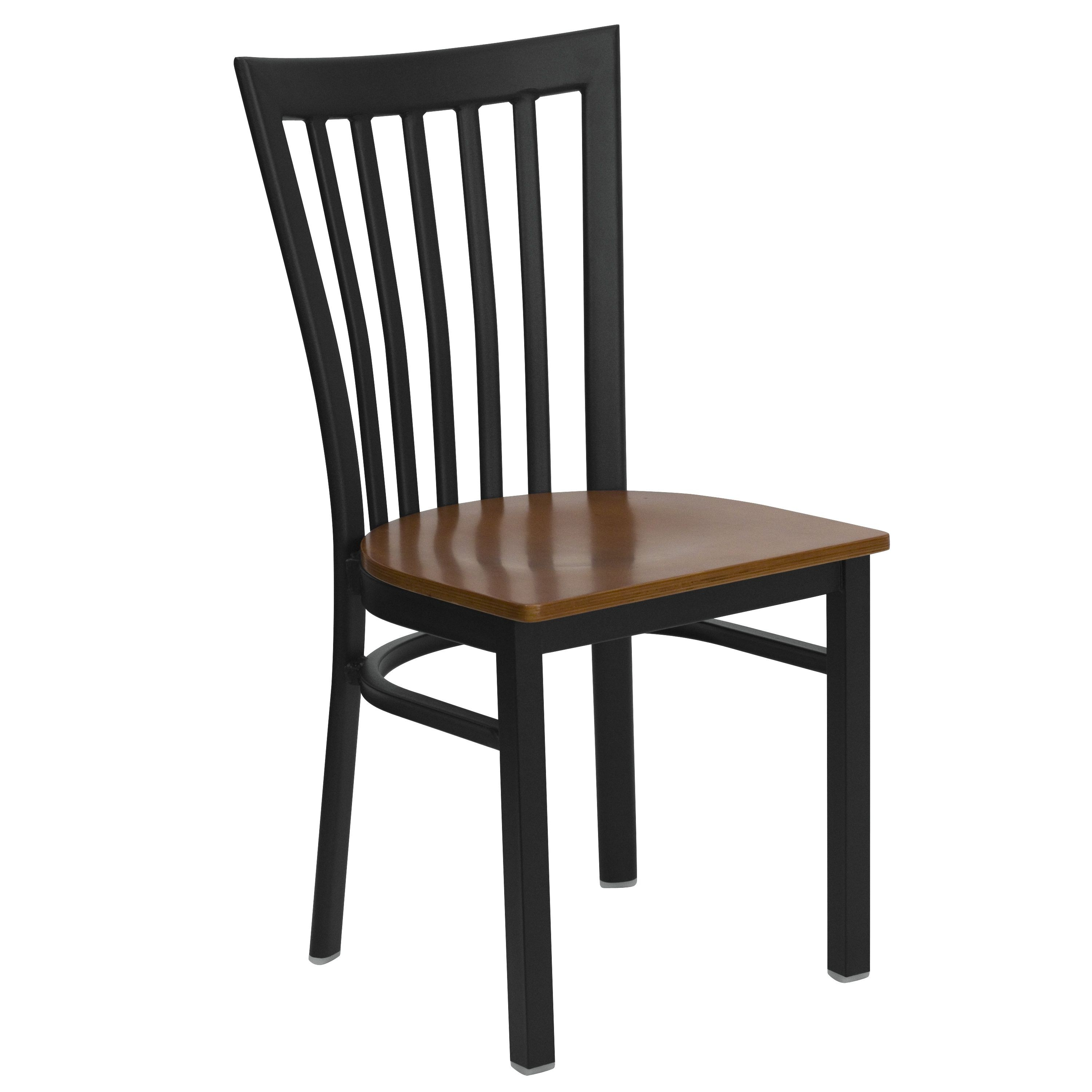 Flash Furniture XU-DG6Q4BSCH-CHYW-GG Black Schoolhouse Back Metal Chair with Cherry Wood Seat