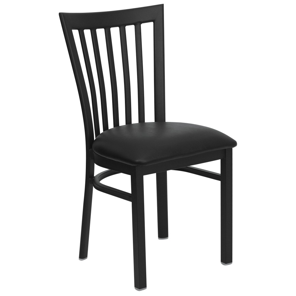Black Schoolhouse Back Metal Chair with Black Vinyl Seat