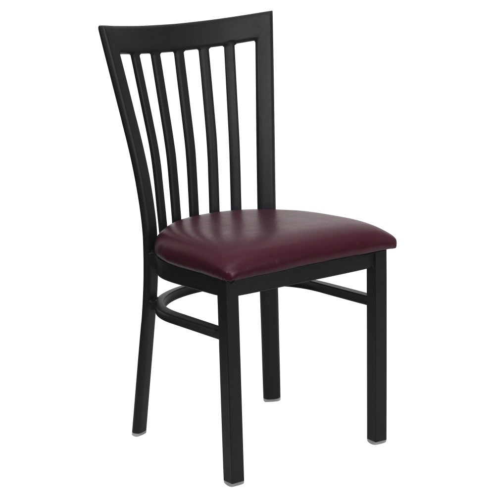 Black Schoolhouse Back Metal Chair with Burgundy Vinyl Seat