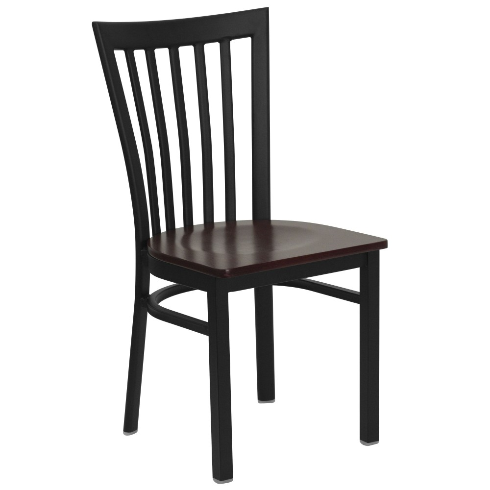 Black Schoolhouse Back Metal Chair with Mahogany Wood Seat