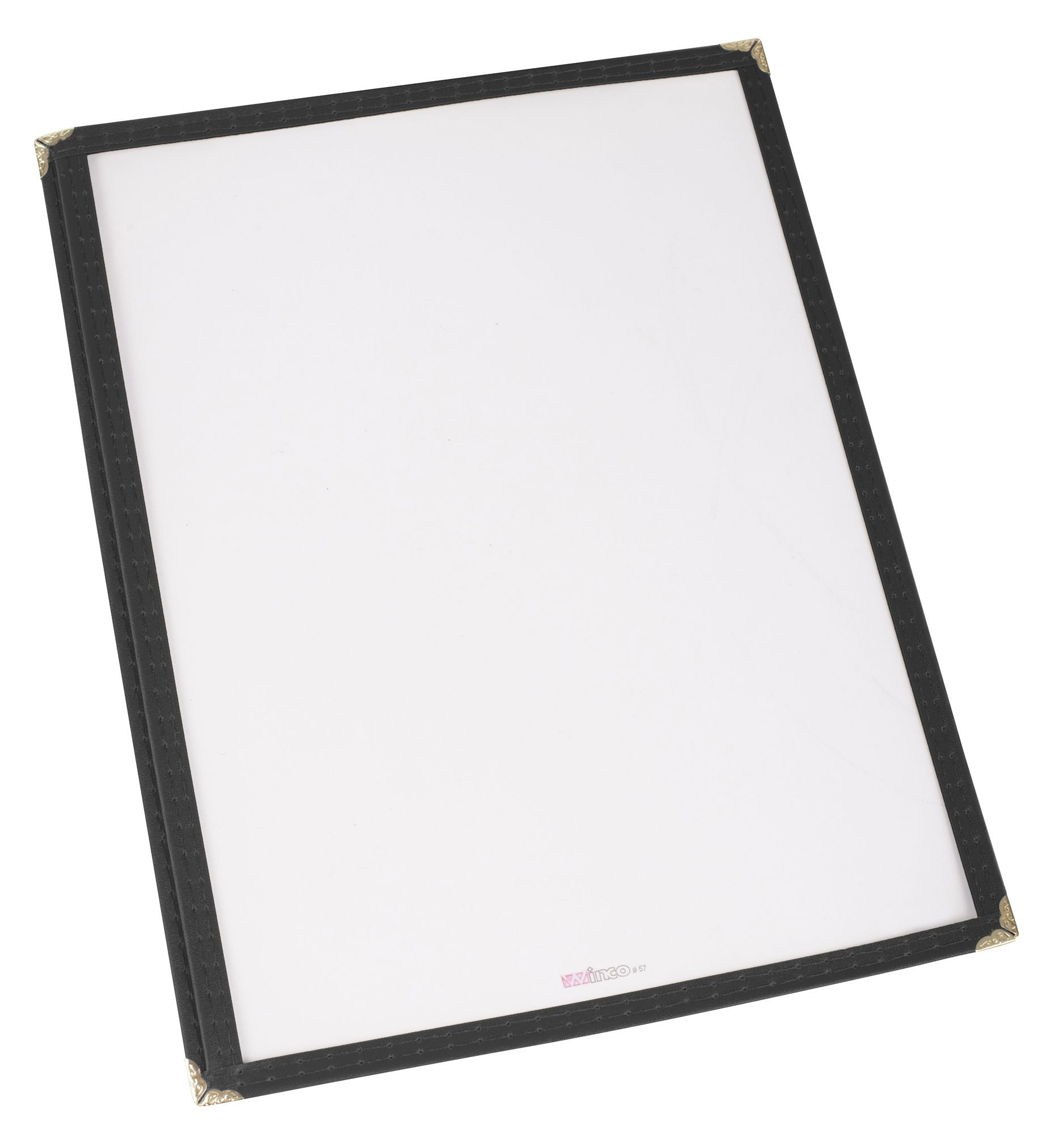 "Winco PMC-14K Black Single Fold Menu Cover 8-1/2"" x 14"""