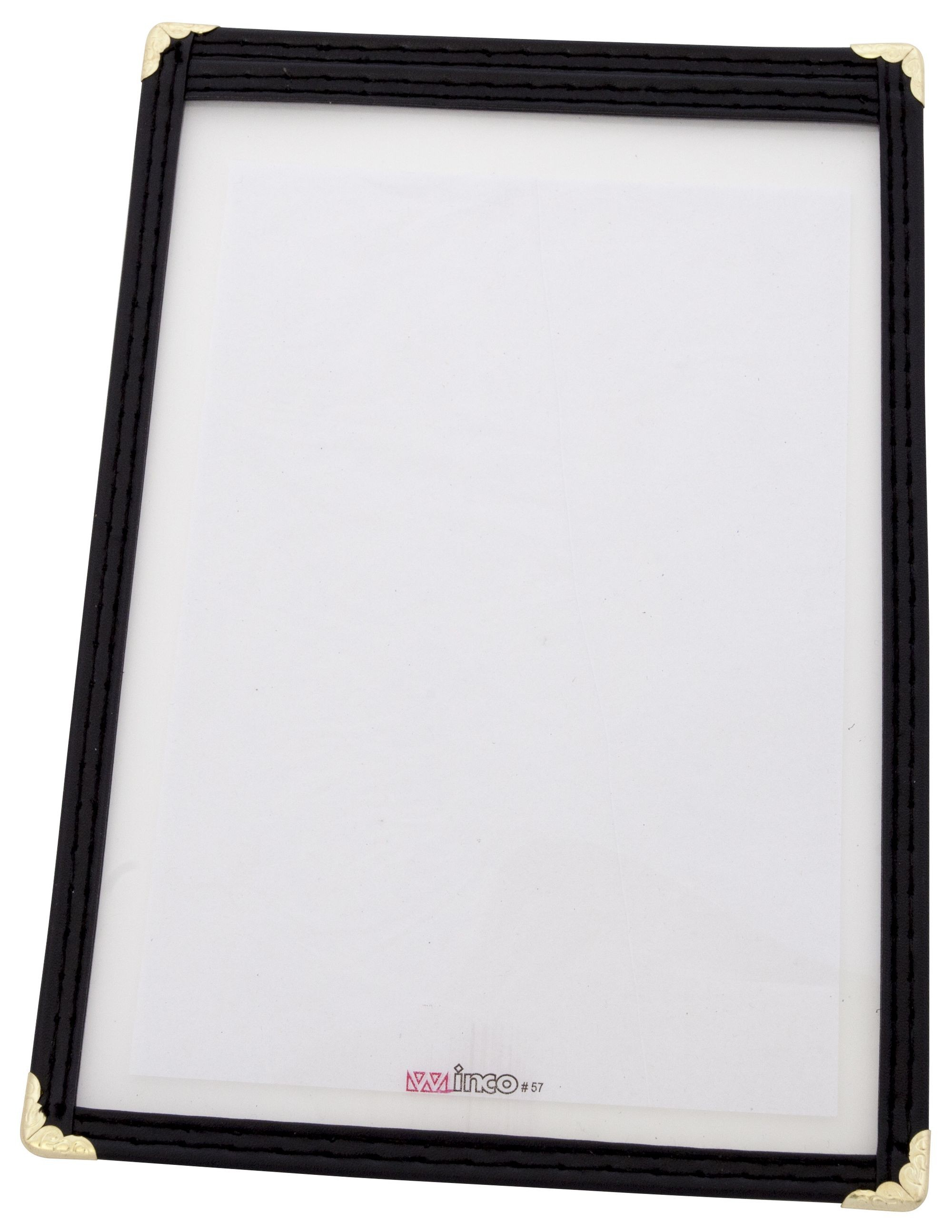 "Winco PMC-5K Black Single Menu Cover, 6-3/8"" x 9-3/8"""