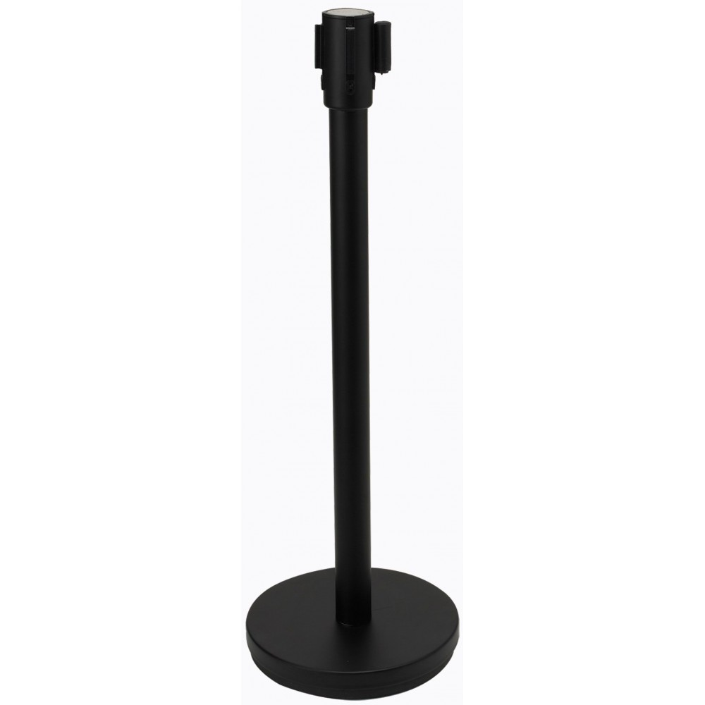 Black Stanchion with 6.5' Retractable Black Belt
