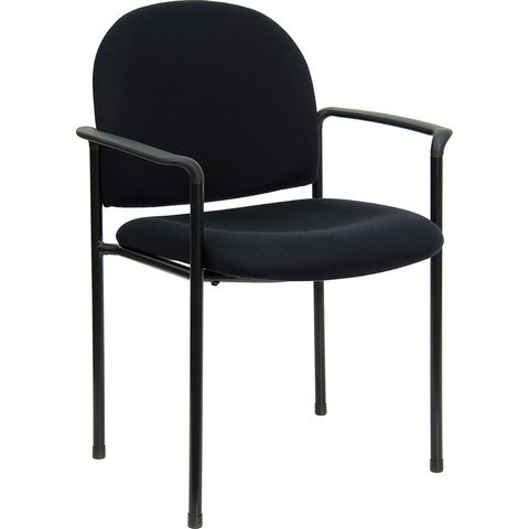 Black Steel Stacking Chair with Arms