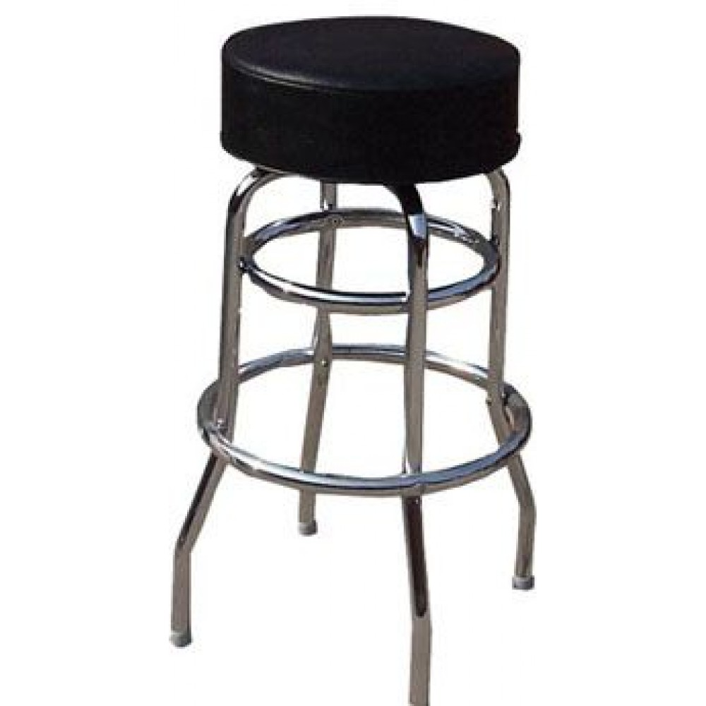 Black Vinyl Bar Stool With 2-Ring Frame