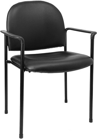 Black Vinyl Steel Stacking Chair with Arms