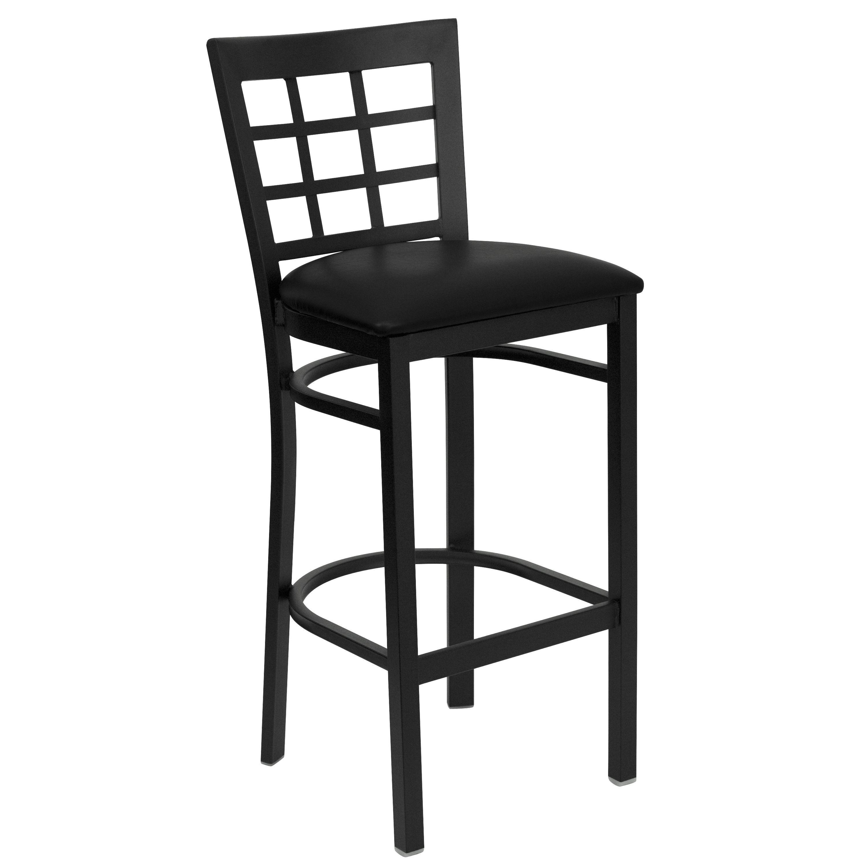 Flash Furniture XU-DG6R7BWIN-BAR-BLKV-GG Black Window Back Metal Bar Stool with Black Vinyl Seat