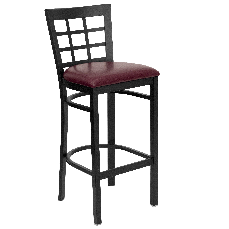 Flash Furniture XU-DG6R7BWIN-BAR-BURV-GG Black Window Back Metal Bar Stool with Burgundy Vinyl Seat