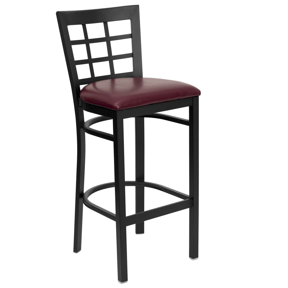 Black Window Back Metal Bar Stool with Burgundy Vinyl Seat