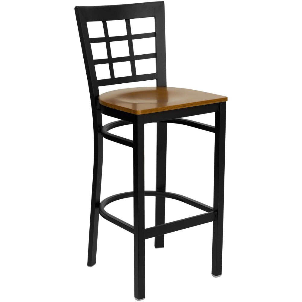 Black Window Back Metal Bar Stool with Cherry Wood Seat