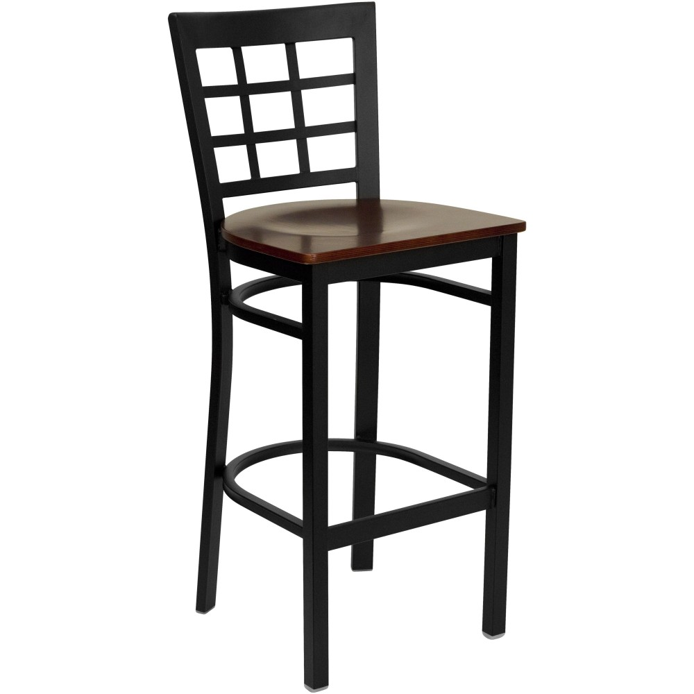 Black Window Back Metal Bar Stool with Mahogany Wood Seat