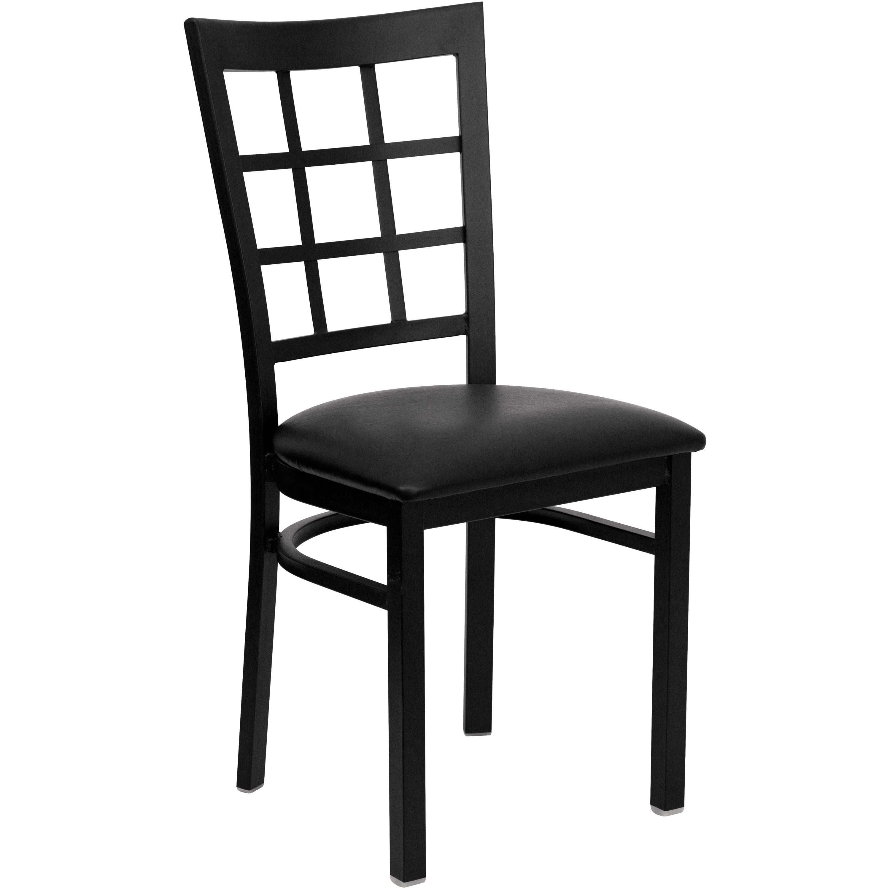 Black Window Back Metal Chair with Black Vinyl Seat