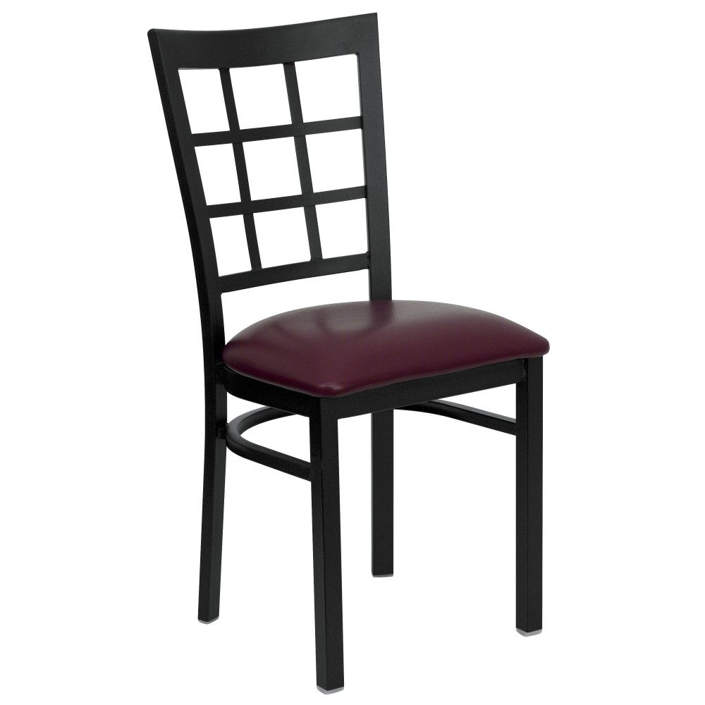 Black Window Back Metal Chair with Burgundy Vinyl Seat