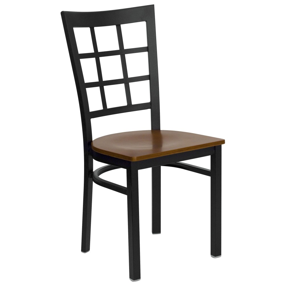 Flash Furniture xu-dg6q3bwin-chyw-gg Black Window Back Metal Chair with Cherry Wood Seat