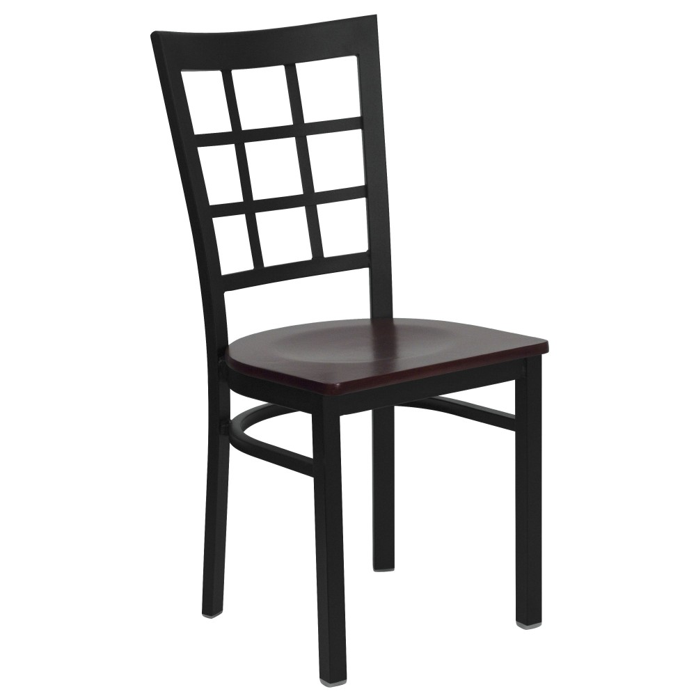Black Window Back Metal Chair with Mahogany Wood Seat