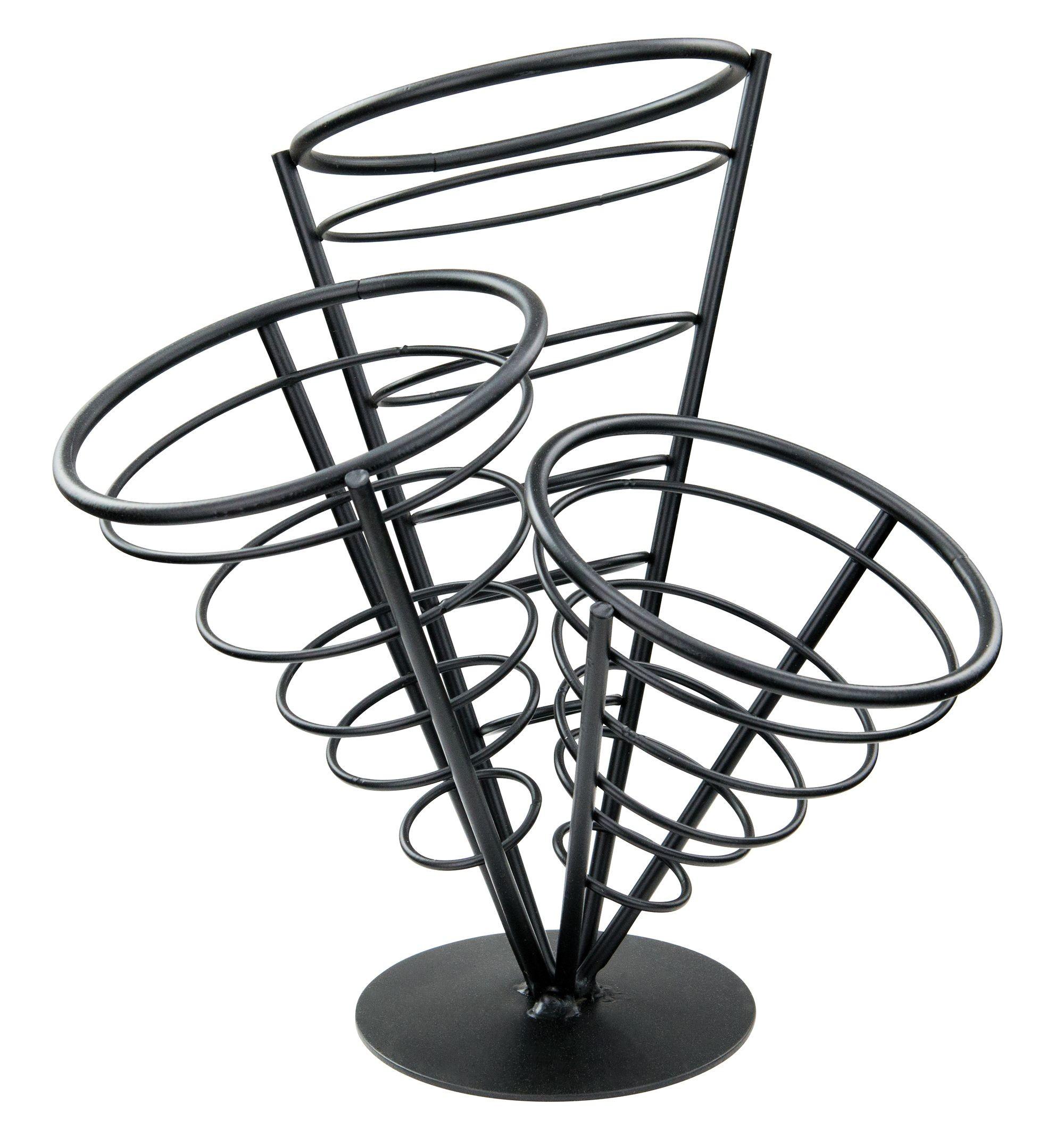 Winco WBKH-10 3-Cone Black Wire French Fry Holder
