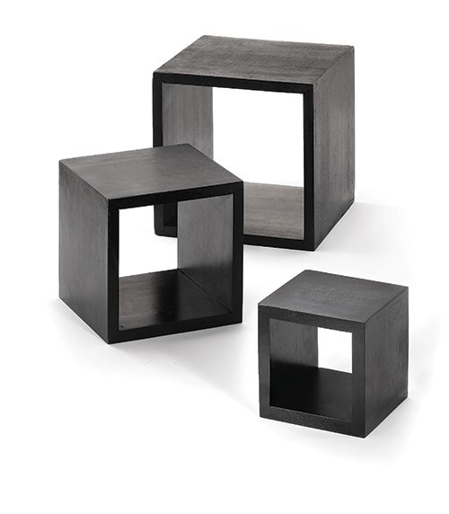Black Square Wood 3-Piece Riser Set