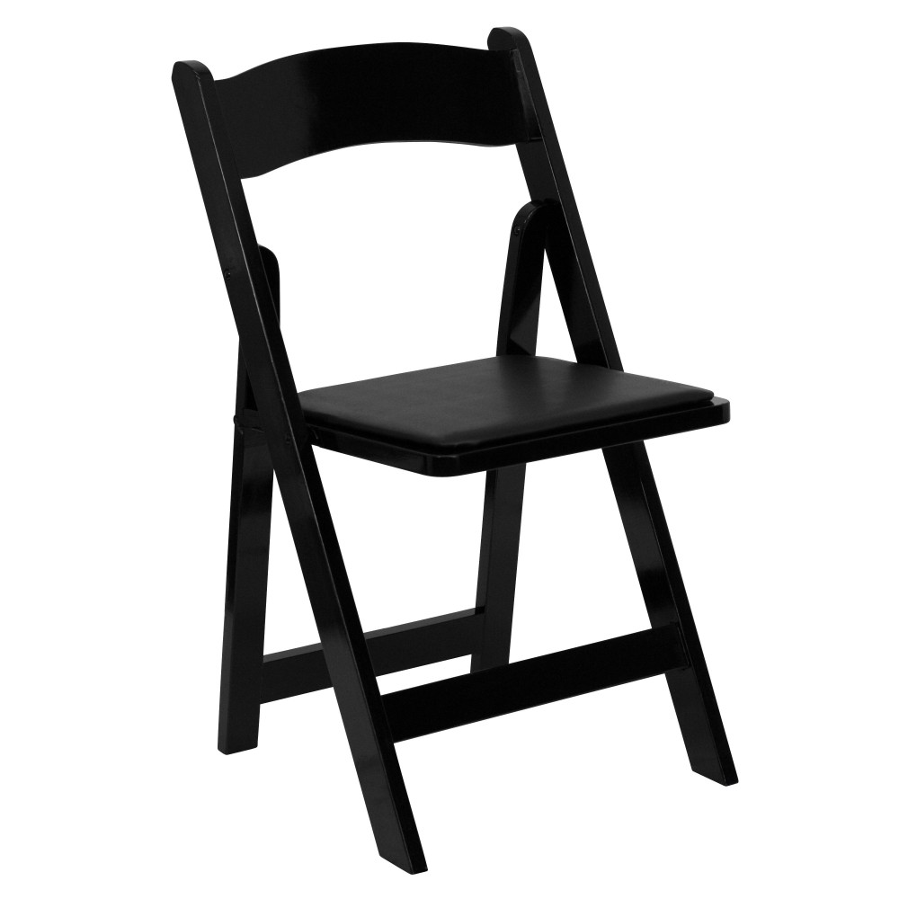 Flash Furniture XF-2902-BK-WOOD-GG Black Wood Folding Chair, Padded Vinyl Seat