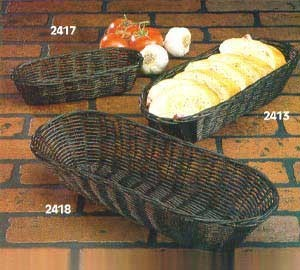 "TableCraft 2413 Black Handwoven Oblong Basket 13"" x 5"" x 3"""